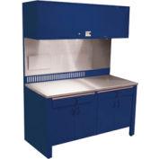 Poste de travail stationnaire Realiti®, dessus en acier inoxydable, bleu St. Louis