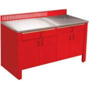 Établi stationnaire Realiti®, dessus en acier inoxydable, rouge carmin