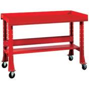 """Shure Mobile Teardown Workbench W/ C Channel Leg, Steel Square Edge, 60""""W x 29""""D, Red"""