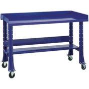"""Shure Mobile Teardown Workbench W/ C Channel Leg, Steel Square Edge, 72""""W x 29""""D, Blue"""