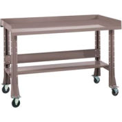 """Shureshop® bench w/acc kit-portable,painted steel top,72""""x 34""""-Pewter Grey"""