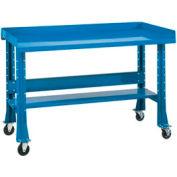 "Shureshop® Portable Workbench, Butcher Block Square Edge, 60""Wx30""D, Blue"