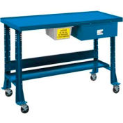 "Shure Portable Oversized Teardown or Fluid Containment Bench, 60""W x 32""D, Blue"