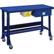 "Shure Portable Oversized Teardown or Fluid Containment Bench, 60""W x 32""D, St. Louis Blue"