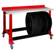 "Tire Cart w/ Stainless Steel Bench Top 54-1/2""W x 25-5/8""D x 41""H-Carmine Red"