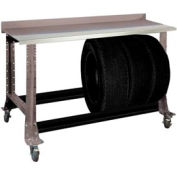 "Tire Cart w/ Stainless Steel Bench Top 54-1/2""W x 25-5/8""D x 41""H-Pewter Grey"