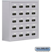 "Cell Phone Storage Locker, Surface Mounted, 5 Door High, 8""D, Combo Locks, 20 A Doors, Aluminum"