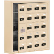 Cell Phone Locker with Access Panel 19155-20SSC - Surface Mounted, Combo Locks 20 A Doors, Sandstone