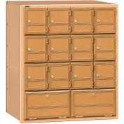 Salsbury aluminium Americana boîte aux lettres 2114RL - 14 portes, arrière de chargement, accès privé, laiton
