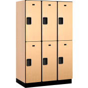 Salsbury Extra Wide Designer Wood Locker 22361 - Double Tier 3 Wide 15x21x36 Maple Partial Assembled