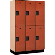 Salsbury Extra Wide Designer Wood Locker 22368  Double Tier 3 Wide 15x18x36 Cherry Partial Assembled