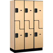 Salsbury Extra Wide Designer Wood Locker 27368 - Z-Style 3 Wide 15x18x72 Maple Partially Assembled