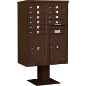 """Salsbury 4c piédestal Mailbox, 59-3/4"""" H, Double colonne, 10 MB1/2 PL6 portes, Bronze"""