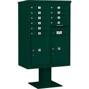 """Salsbury 4c piédestal Mailbox, 59-3/4"""" H, Double colonne, 10 MB1/2 PL6 portes, vert"""