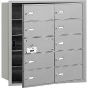 Salsbury 4 b + horizontale boîte aux lettres, 10 B portes (9 utilisables), chargement frontal, aluminium, accès privé