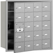 Salsbury 4 b + horizontale boîte aux lettres, 20 A portes (19 utilisable), chargement frontal, aluminium, USPS accès