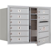 Boîte au lettres horizontaleSalsbury 4C,231/2 po haut., colonne double,9 vantaux MB1, apport avant, aluminium, privé