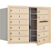 """Salsbury 4c Horizontal Mailbox, 23-1/2"""" H, Double colonne, 10 MB1 portes, chargement frontal, sable, privé"""