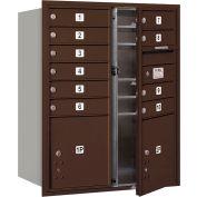 """Salsbury 4c Horizontal Mailbox, 37-1/2"""" H, Double, PL MB10/1 2 portes, chargement frontal, en Bronze, privé"""