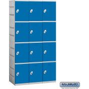 """Salsbury Plastic Locker, Four Tier, 3 Wide, 12-3/4""""W x 18""""D x 18-1/4""""H, Blue, Unassembled"""