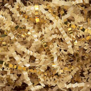 Spring Fill Decorative Filler GC5FV Crinkle Cut, Gold Metallic/French Vanilla Paper, 5 Lb. Box