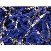 Spring Fill Decorative Filler SC5RB Crinkle Cut, Silver Metallic/Royal Blue Paper, 5 Lb. Box