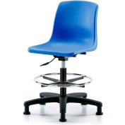 eCom Seating One-Piece Plastic Shell Stool - Avec Chrome Foot Ring - Bleu