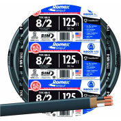 Southwire 28893602 Romex SIMpull ® Cable with Ground, Black, 8/2 Awg, 125 ft