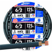 Southwire 28894402 Romex SIMpull ® Cable with Ground, Black, 6/2 Awg, 125 ft