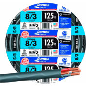 Southwire 63949202 Romex SIMpull ® Cable with Ground, Black, 8/3 Awg, 125 ft