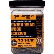 """#7 Bronze Star FSC7158W-1 Finish Head Star Drive Screws 1-5/8""""L, 1lb. Carton - Made In USA"""