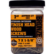 "Screw Products FSC72-1 - #7 Bronze Star Finish Head Star Drive Screws 2""L, 1lb. Carton - Made In USA"
