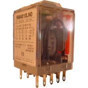 RelayGo RM4010LN0120, Industrial Relay w/ LED, 10A Switch, 120V AC, 4PDT,14-Blade