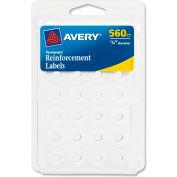 """Avery® renforcement Permanent des étiquettes, 1/4"""" W x 1/4"""" H, blanc, 560/PK"""