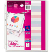 "Avery® Protect 'n Tab Top Loading Sheet Protector, 8-1/2""W x 11""H, Clear, 5 Tabs/Set"