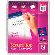 """Avery® Secure Top Load Sheet Protector, 8-1/2""""W x 11""""H, Clear, 25/PK"""