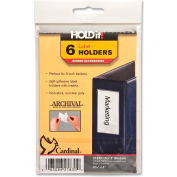 """Cardinal® HOLDit! Label Holders, 2-3/16""""W x 4""""H, Clear, 6/PK"""