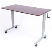 "Luxor Standing Desk - Crank Adjustable Height - 59""L x 29-1/2""W - Walnut"