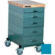 Stackbin Workbench, Mobile Workbench 16 x 24 x 33 Maple Top - Blue