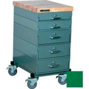 Stackbin Workbench, Mobile Workbench 16 x 24 x 33 Maple Top - Green