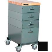 Stackbin Workbench, Mobile Workbench 16 x 24 x 36 Maple Top - Black
