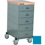 Stackbin Workbench, Mobile Workbench 16 x 24 x 36 Maple Top 4 Drawers - Blue