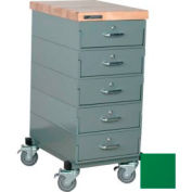 Stackbin Workbench, Mobile Workbench 16 x 24 x 36 Maple Top 4 Drawers - Green