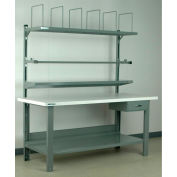 """Stackbin No. 8 Adjustable Height Packing Workbench, Laminate Square Edge, 60""""L x 36""""W, Blue"""