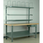 """Stackbin No. 8 Adjustable Height Packing Workbench, Butcher Block Square Edge, 60""""W x 36""""D, Blue"""