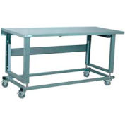 "Stackbin Workbench, 2500 Series, Electric Lift, Steel Square Edge, 60""W X 30""D, Blue"