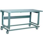 "Stackbin Workbench, 2500 Series, Electric Lift, Steel Square Edge, 60""W X 30""D, Gray"