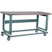 "Stackbin Workbench, 2500 Series, Electric Lift, Hardboard, 48""W X 36""D, Blue"