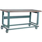 "Stackbin Workbench, 2500 Series, Electric Lift, Hardboard, 60""W X 30""D, Blue"