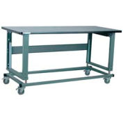 "Stackbin Workbench, 2500 Series, Electric Lift, Plastic Laminate W/T-Molding, 72""W X 30""D, Blue"